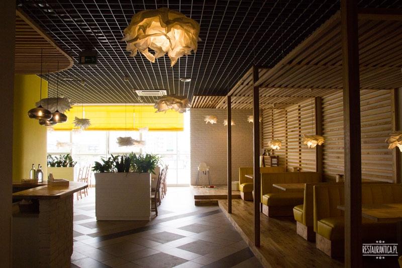 Helianthus wnętrze, restauracja, Kobielska, Warszawa