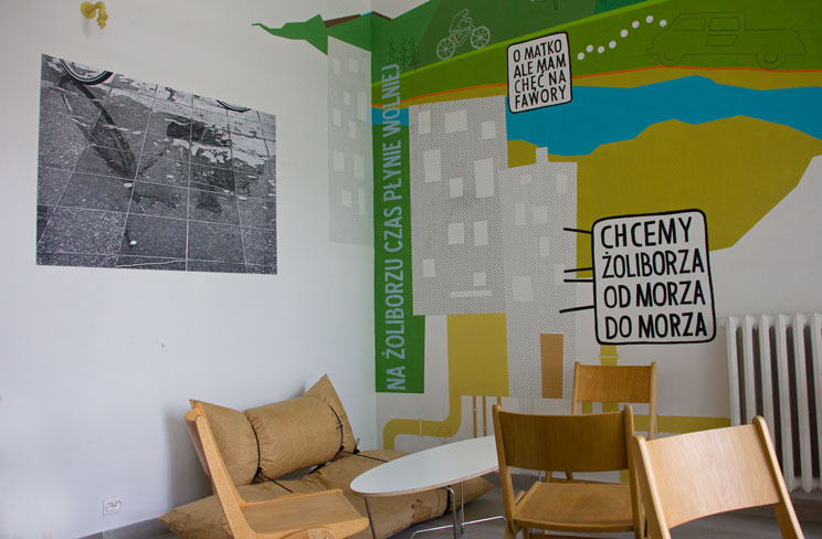 Kawiarnia Fawory Żoliborz mural