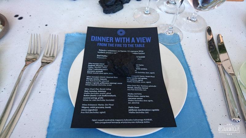 Dinner with a view, rzeka, menu