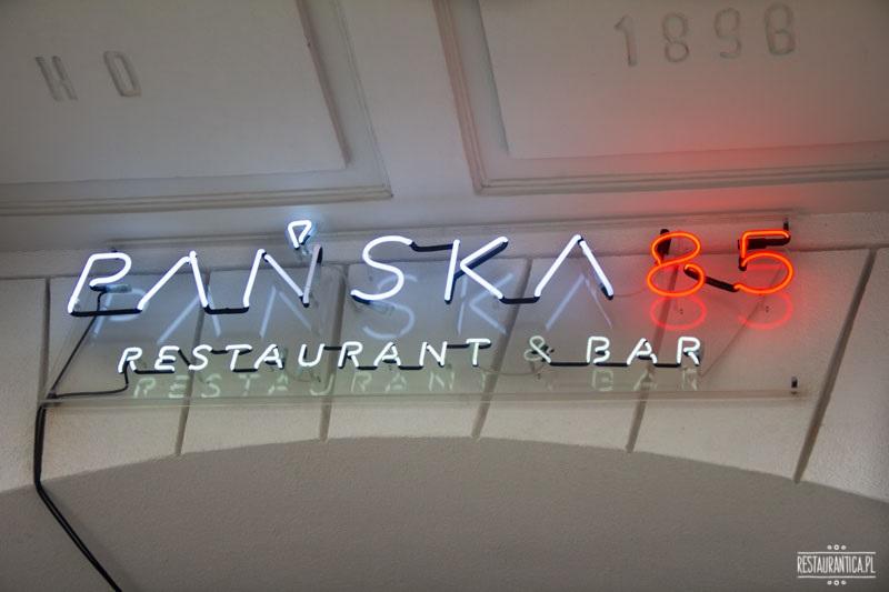 Pańska 85 restauracja, logo, szyld